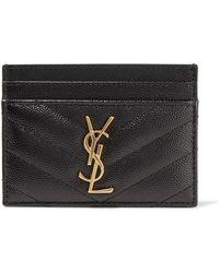 Saint Laurent Quilted Textured-leather Cardholder - Black