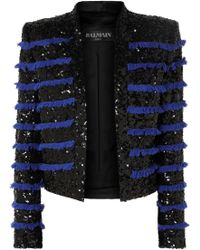 Balmain - Cropped Fringed Sequined Tweed Jacket - Lyst