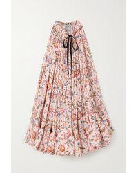 Lanvin Grosgrain-trimmed Ruffled Floral-print Charmeuse Mini Dress - Pink
