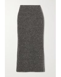 Altuzarra Tony Ribbed Wool And Cashmere-blend Midi Skirt - Grey