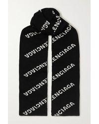 Balenciaga Schal Aus Einer Wollmischung Mit Intarsienmuster - Schwarz
