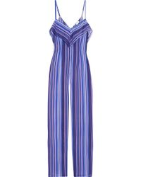 La Perla - Striped Stretch-silk Jumpsuit - Lyst