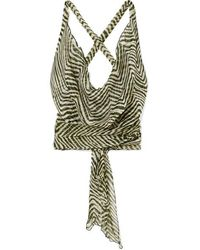 Cloe Cassandro Net Sustain Santi Cropped Zebra-print Silk-crepon Wrap Top - Green
