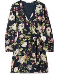 Alice + Olivia - Hannah Wrap-effect Floral-print Washed-satin Mini Dress - Lyst