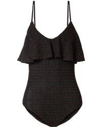 By Malene Birger - Enimar Ruffled Metallic Ribbed Stretch-knit Bodysuit - Lyst