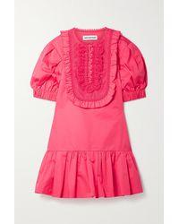 Self-Portrait Crochet-trimmed Ruffled Cotton-poplin Mini Dress - Pink