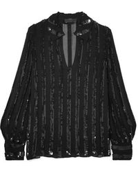 Nili Lotan Anette Striped Sequined Chiffon Blouse - Black