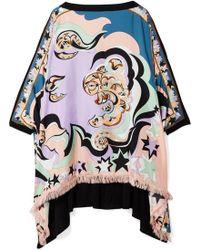 Emilio Pucci - Edie Fringed Printed Silk-twill And Chiffon Top - Lyst