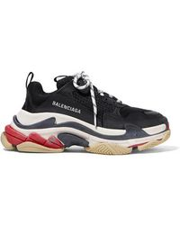 Balenciaga Triple S Logo-embroidered Leather, Nubuck And Mesh Trainers - Black