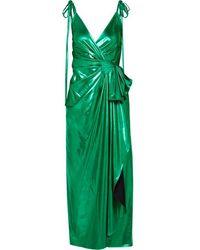 The Attico Gathered Lurex Wrap Dress - Green