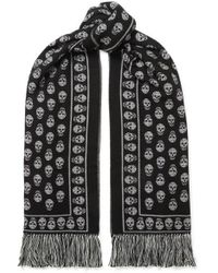Alexander McQueen Fringed Wool And Silk-blend Jacquard Scarf - Black