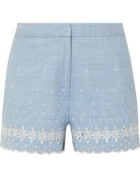 J.Crew Broderie Anglaise Cotton-chambray Shorts - Blue