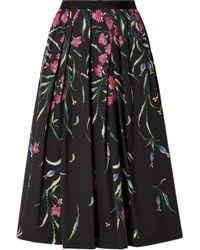 Carolina Herrera - Floral Stretch-cotton Midi Skirt - Lyst
