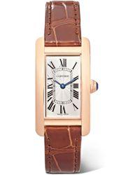 Cartier - Tank Américaine 34.8mm Small 18-karat Pink Gold And Alligator Watch - Lyst