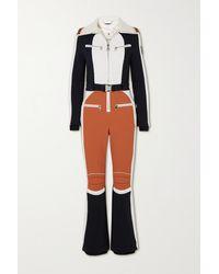 Chloé + Fusalp Belted Wool-trimmed Paneled Ski Suit - Orange