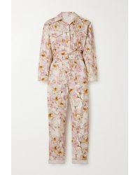 Rebecca Vallance Fleur Du Mal Belted Floral-print Cotton-twill Jumpsuit - Pink