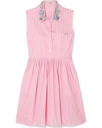 Miu Miu - Embellished Striped Cotton-poplin Mini Dress - Lyst