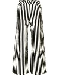 Eve Denim Charlotte Striped High-rise Wide-leg Jeans - Black