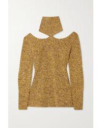 Christopher Kane Cutout Ribbed Wool Turtleneck Sweater - Brown