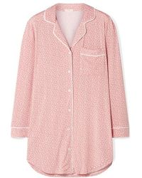 Eberjey Sleep Chic Bedrucktes Pyjama-hemd Aus Stretch-modal - Pink