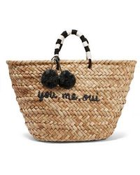 Kayu St Tropez Pompom-embellished Woven Straw Tote - Natural