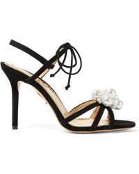 Charlotte Olympia | Tallulah Faux Pearl-embellished Suede Sandals | Lyst