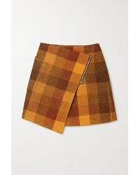 Acne Studios Asymmetrischer Mini-wickelrock Aus Karierter Wolle - Orange
