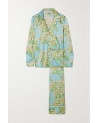 BERNADETTE Piped Floral-print Silk-blend Satin Pyjama Set - Blue