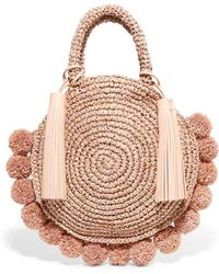 Loeffler Randall - Circle Pompom-embellished Leather-trimmed Straw Tote - Lyst