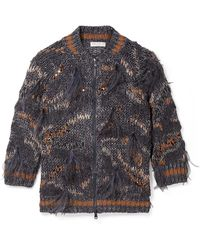 Brunello Cucinelli - Feather And Sequin-embellished Metallic Cotton-blend Cardigan - Lyst
