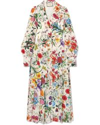 Gucci - Pleated Floral-print Silk Crepe De Chine Dress - Lyst