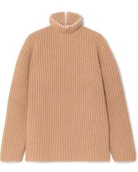 Loewe Faux Pearl-embellished Ribbed Cashmere Turtleneck Sweater - Multicolour