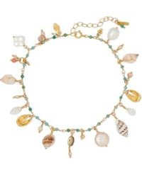Chan Luu Gold-plated, Shell And Multi-stone Anklet - Metallic