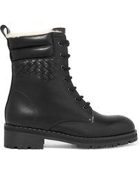 Bottega Veneta | Shearling-lined Intrecciato Leather Ankle Boots | Lyst