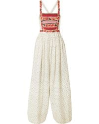 Ulla Johnson - Razi Embroidered Printed Linen And Cotton-blend Jumpsuit - Lyst