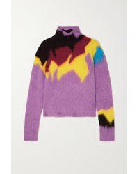 Loewe Intarsia-knit Turtleneck Jumper - Purple