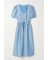 Skin + Net Sustain Raina Organic Cotton And Silk-blend Voile Midi Dress - Blue