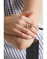 Bea Bongiasca Flower Funk Ring Aus 9 Karat Gold Und Silber Mit Emaille Und Amethyst - Grün