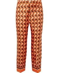 F.R.S For Restless Sleepers - Ceo Printed Silk-twill Straight-leg Trousers - Lyst