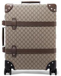 Gucci + Globe-trotter Koffer Aus Beschichtetem Canvas Mit Lederbesatz Und Print - Braun