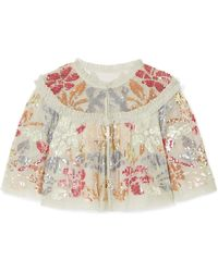 Needle & Thread - Deconstructed Cropped Ruffled Sequin-embellished Tulle Jacket - Lyst