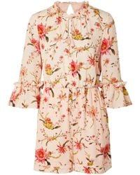 Rachel Zoe - Grace Floral-print Cutout Silk-georgette Playsuit - Lyst