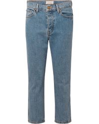 The Great Cropped High-rise Straight-leg Jeans Mid Denim - Blue