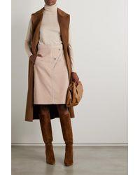 Max Mara Leather-trimmed Cotton-corduroy Skirt - Multicolour
