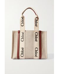 Chloé Woody Medium Leather-trimmed Cotton-canvas Tote - Brown