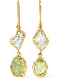 Pippa Small - 18-karat Gold Aquamarine And Peridot Earrings - Lyst