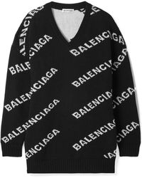 Balenciaga - Oversized Intarsia Wool-blend Sweater - Lyst