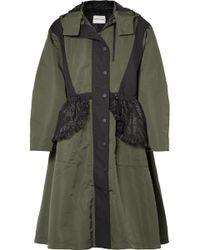 Sandy Liang - Turner Hooded Ruffled Lace-paneled Shell Coat - Lyst