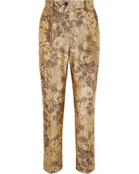 Dolce & Gabbana - Metallic Brocade Straight-leg Pants - Lyst