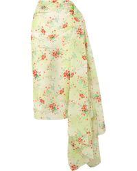 Dries Van Noten - Draped Floral-print Taffeta Skirt - Lyst